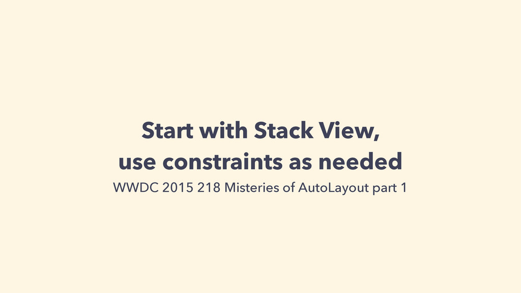 Start with Stack View, use constraints as neede...