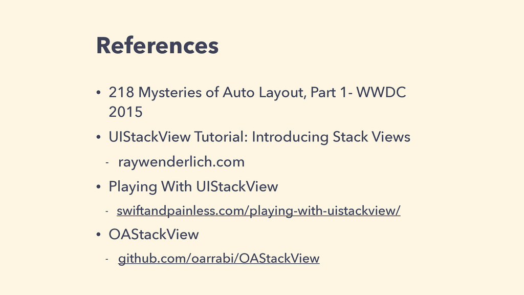 References • 218 Mysteries of Auto Layout, Part...