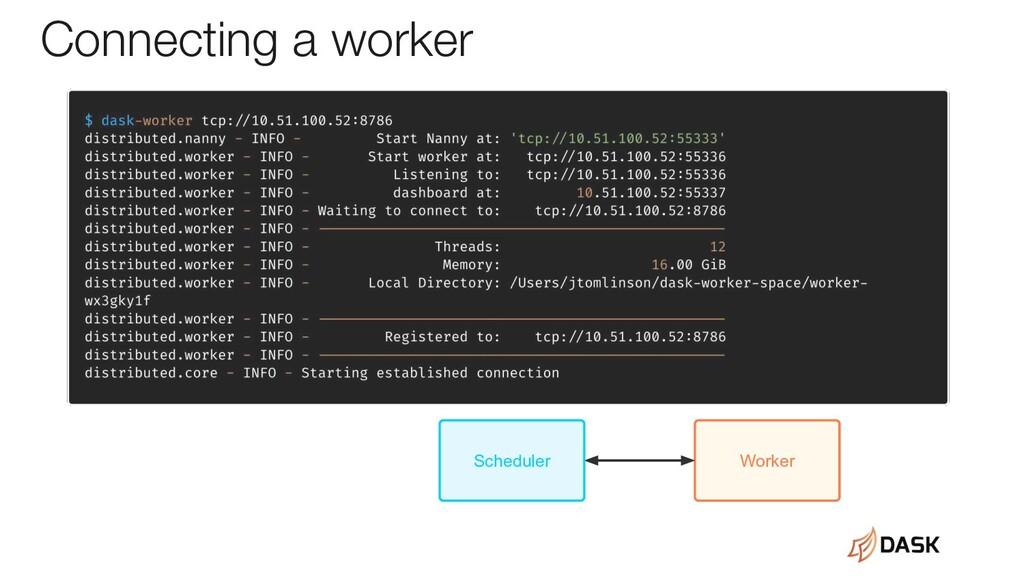Connecting a worker Worker Scheduler