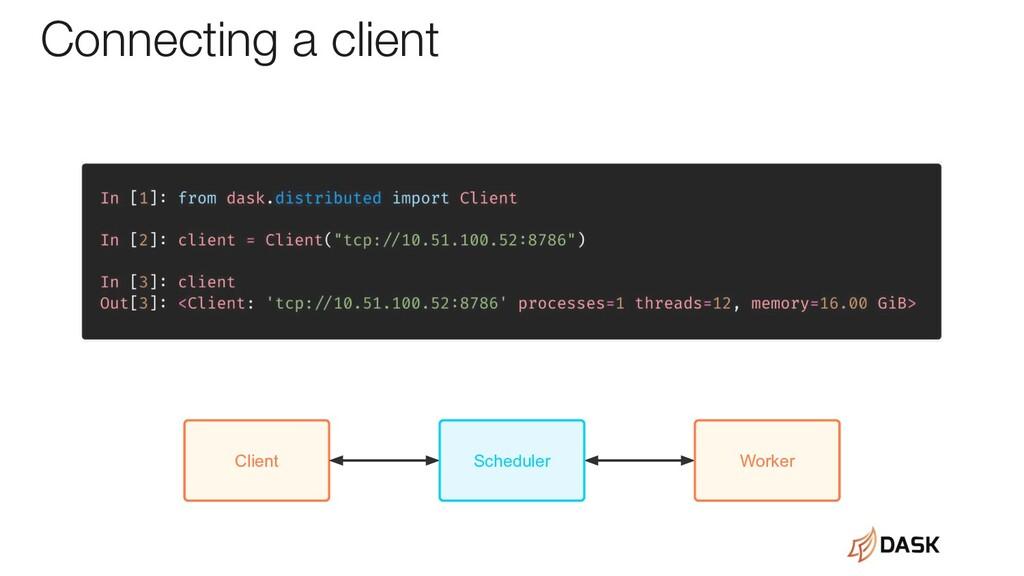 Client Scheduler Worker Connecting a client