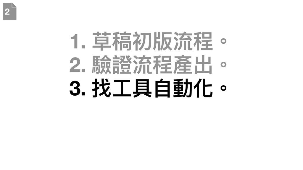 1. 草稿初版流程。 2. 驗證流程產出。 3. 找⼯具⾃動化。 2