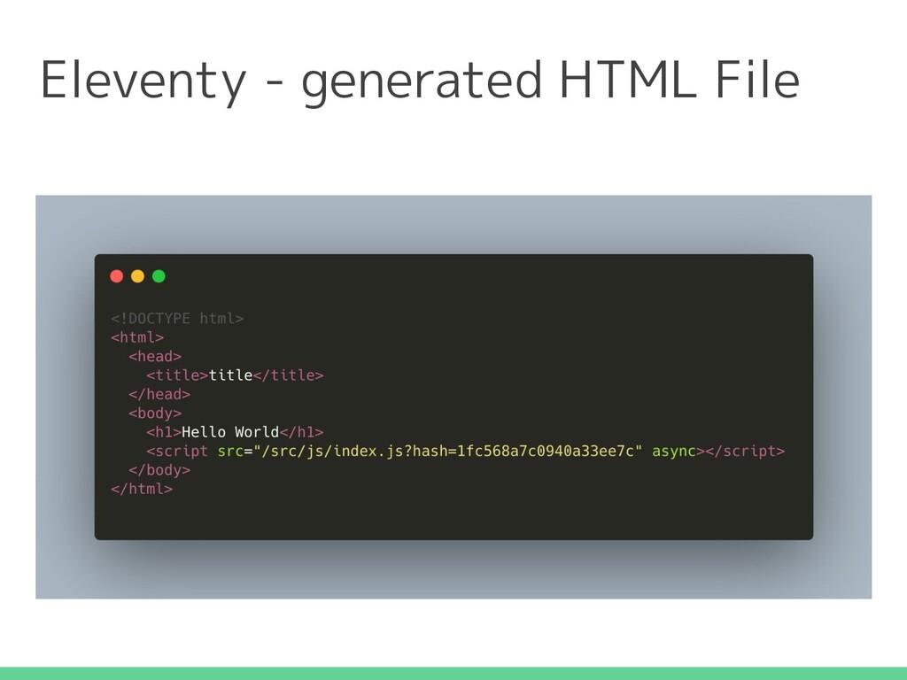 Eleventy - generated HTML File
