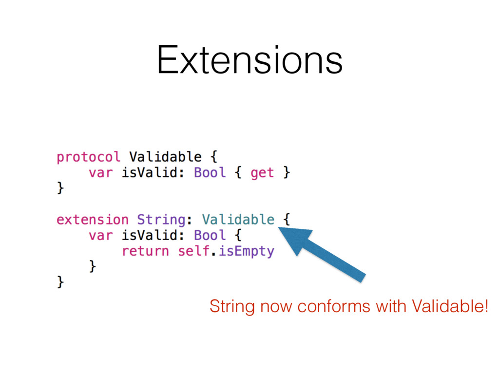 Extensions String now conforms with Validable!