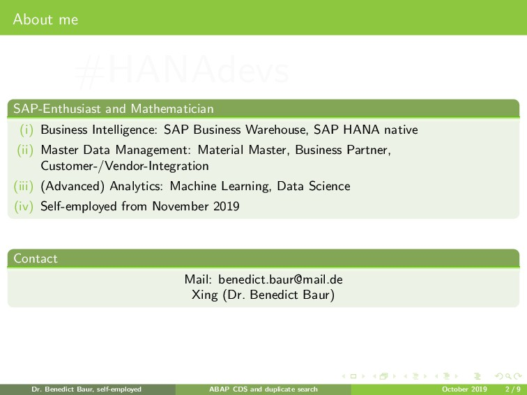 About me SAP-Enthusiast and Mathematician (i) B...