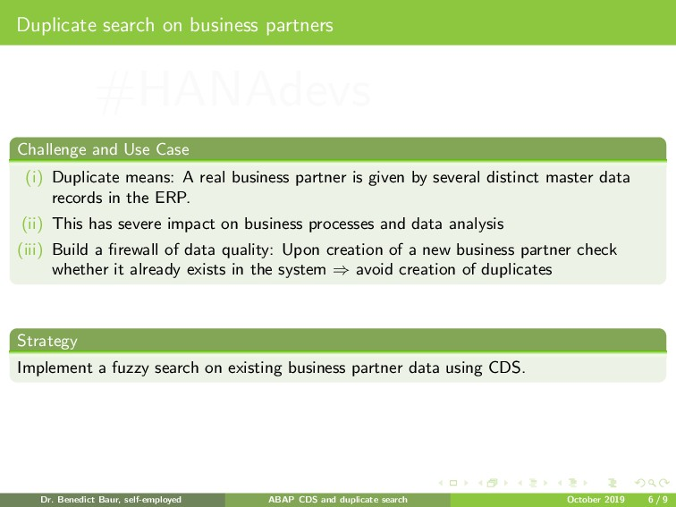 Duplicate search on business partners Challenge...