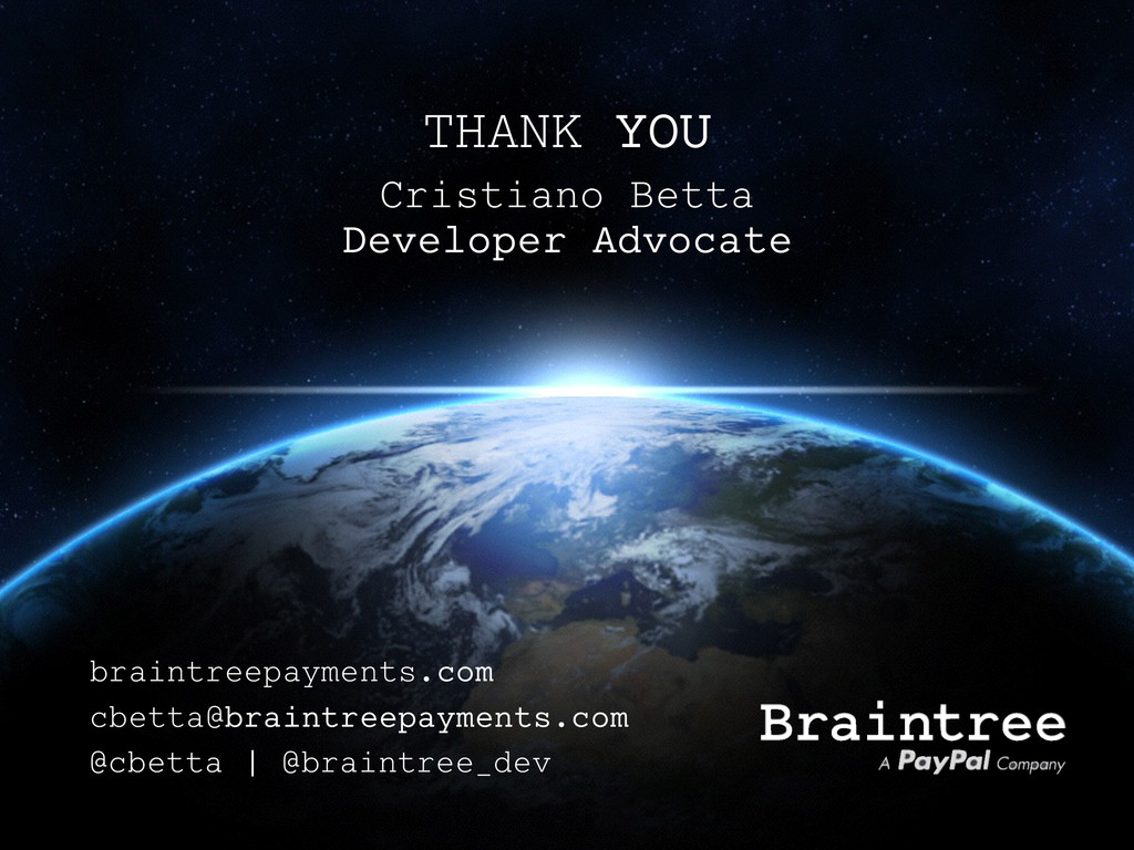 THANK YOU Cristiano Betta Developer Advocate @c...