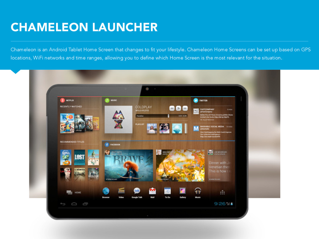 CHAMELEON LAUNCHER Chameleon is an Android Tabl...