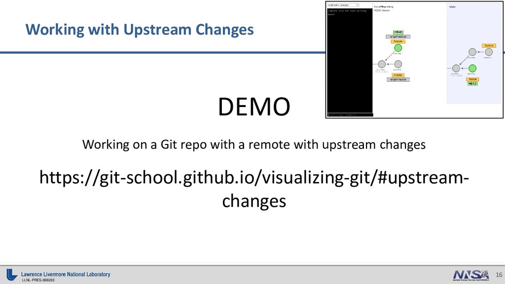LLNL-PRES-698283 16 DEMO Working on a Git repo ...