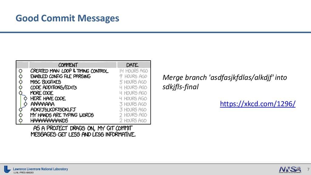 LLNL-PRES-698283 7 Good Commit Messages Merge b...
