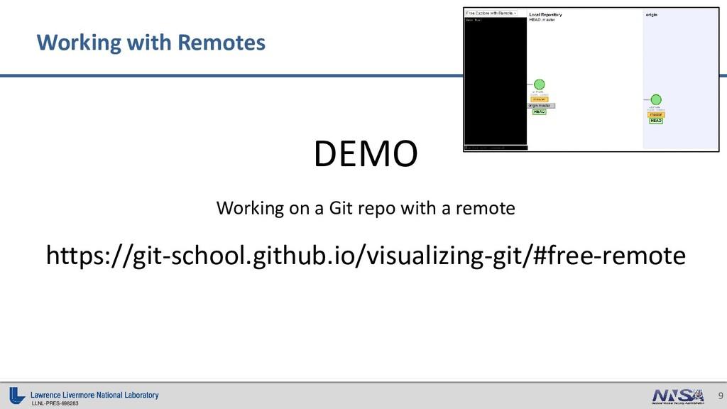 LLNL-PRES-698283 9 DEMO Working on a Git repo w...
