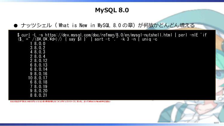 MySQL 8.0 ナッツシェル( What is New in MySQL 8.0 の章)が...
