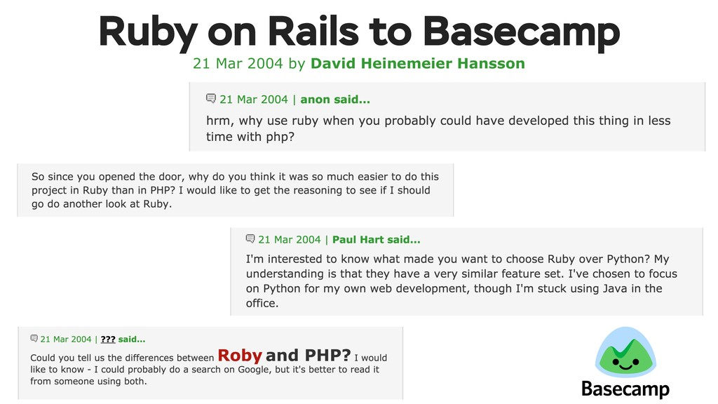 Ruby on Rails to Basecamp 21 Mar 2004 by David ...
