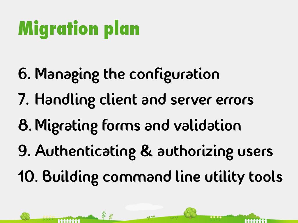 Migration plan 6.Managing the configuration 7....