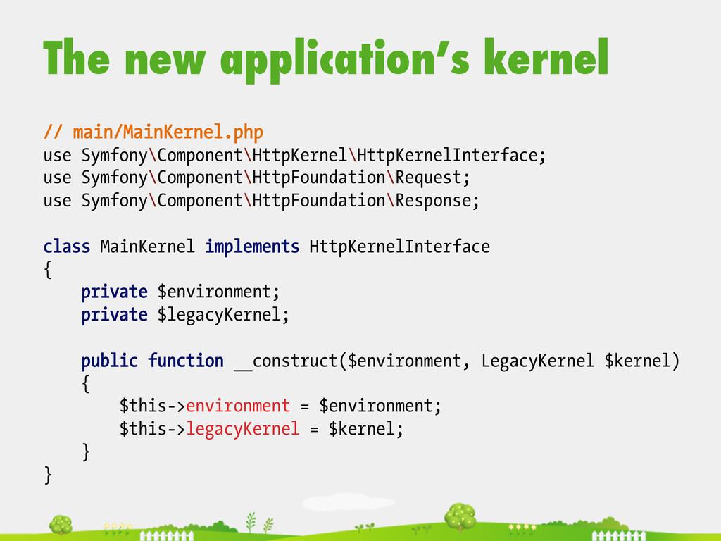 The new application's kernel // main/MainKernel...