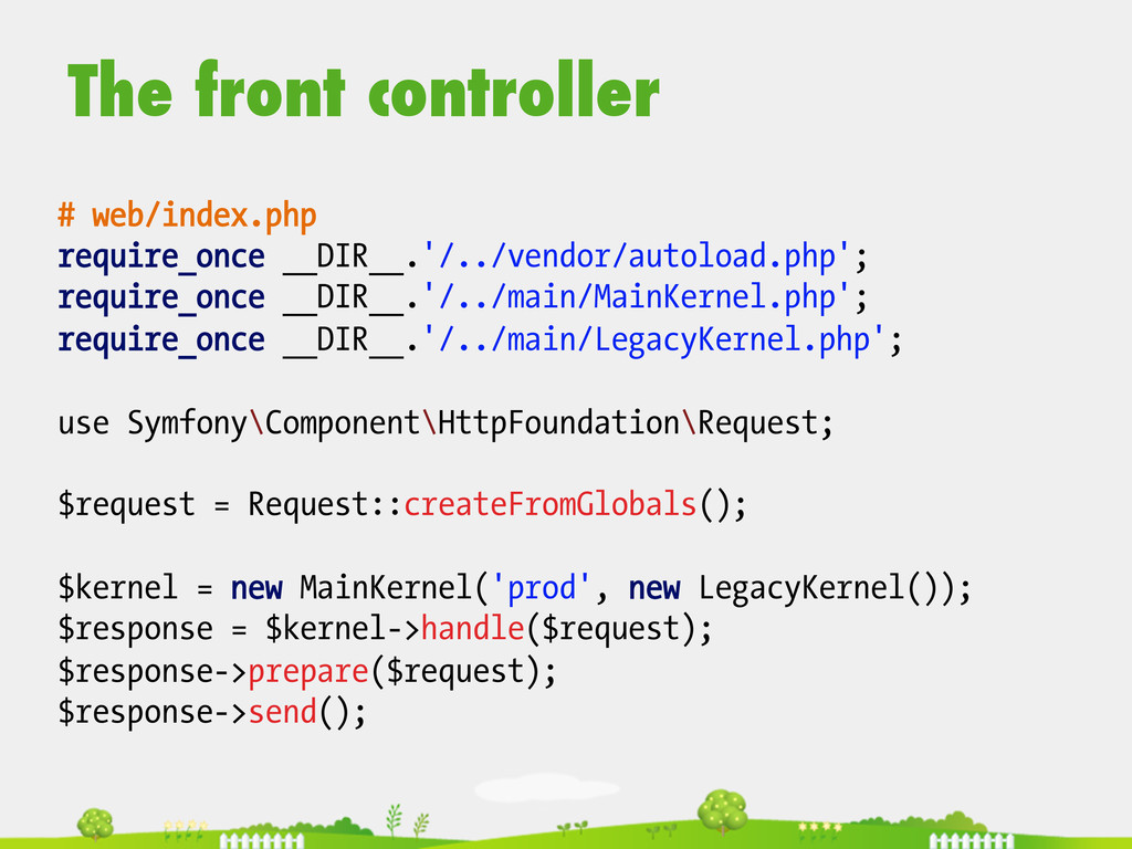 The front controller # web/index.php require_on...