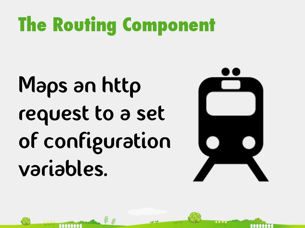 The Routing Component  Maps an http request ...