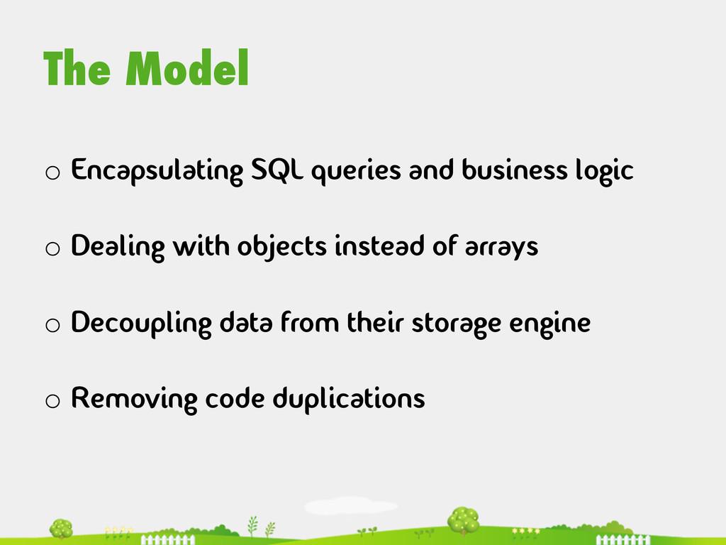The Model  o Encapsulating SQL queries and ...