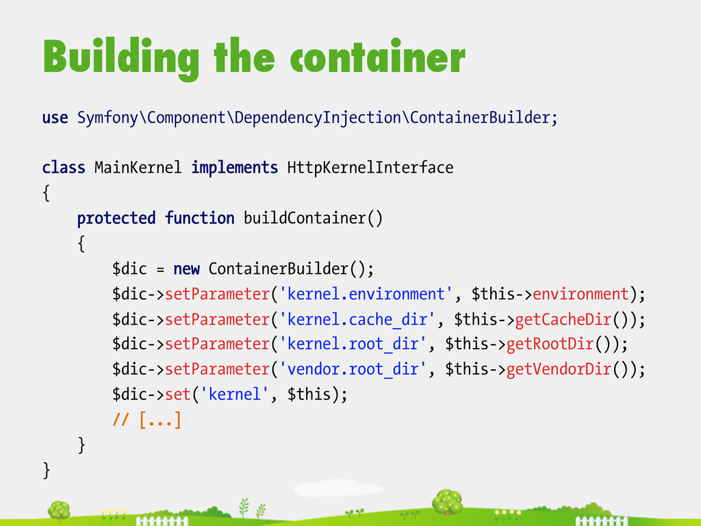 Building the container  use Symfony\Componen...