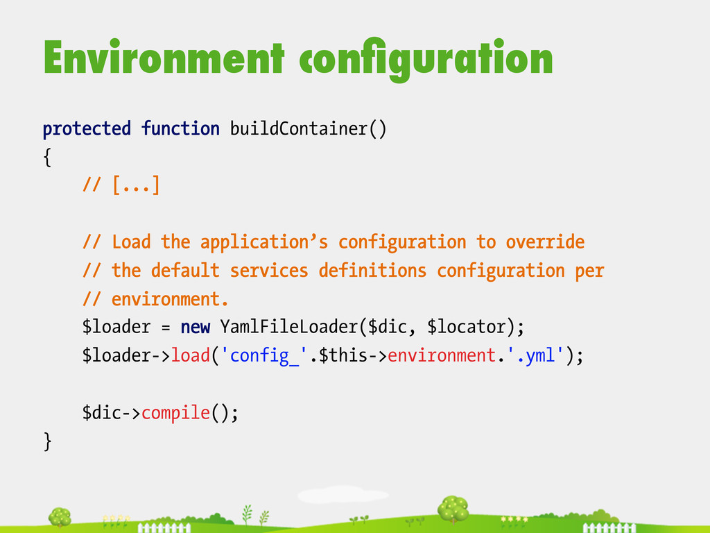 Environment configuration  protected function...
