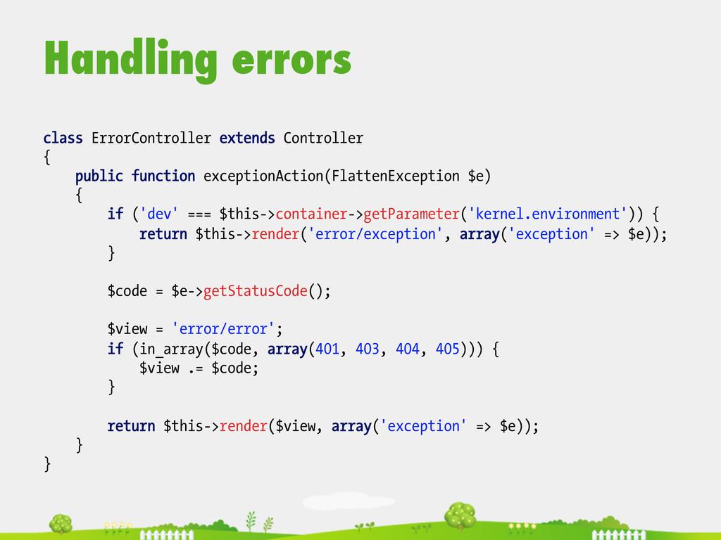 Handling errors  class ErrorController exten...