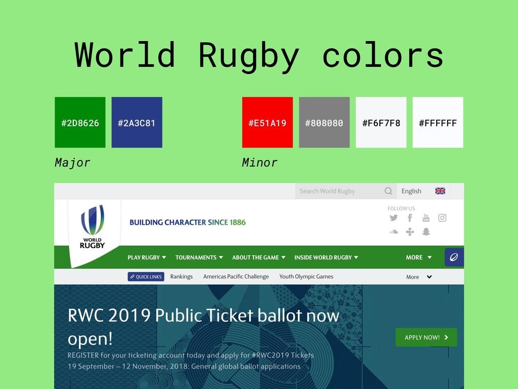 World Rugby colors #2D8626 #2A3C81 #E51A19 #808...