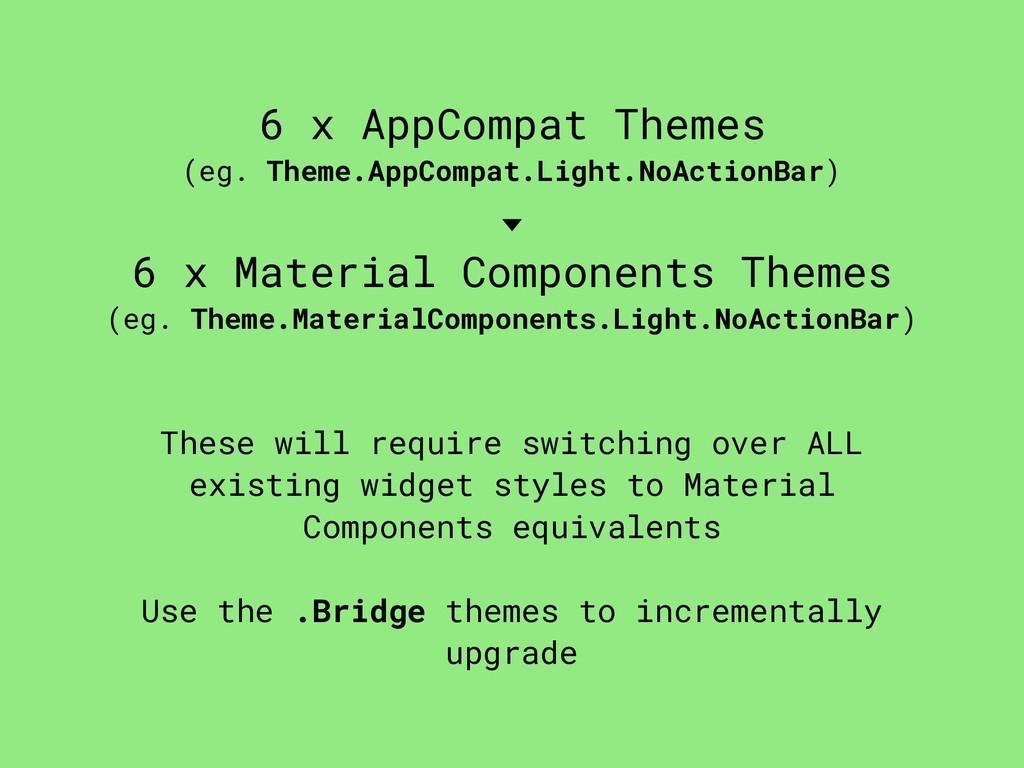 6 x AppCompat Themes (eg. Theme.AppCompat.Light...
