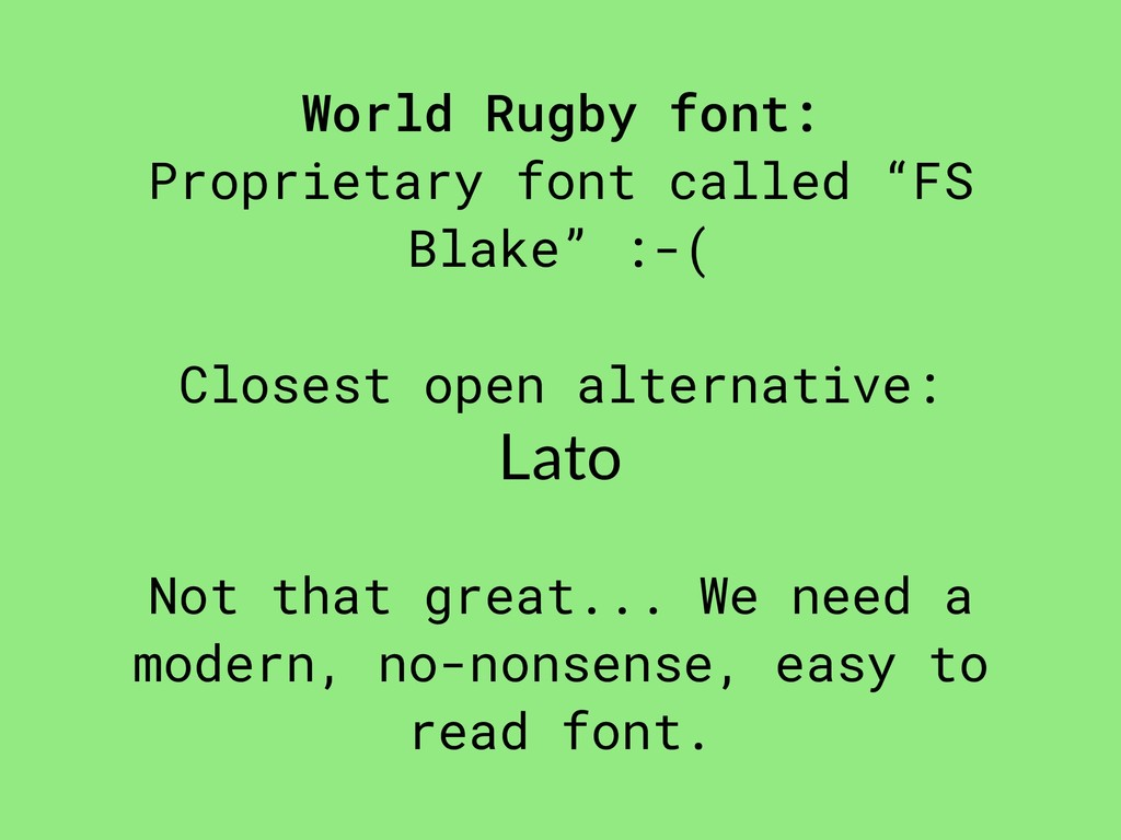 "World Rugby font: Proprietary font called ""FS B..."
