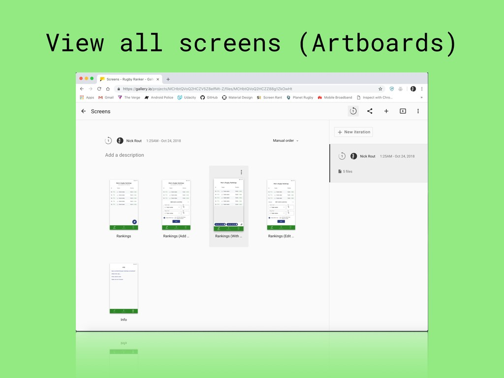 View all screens (Artboards)