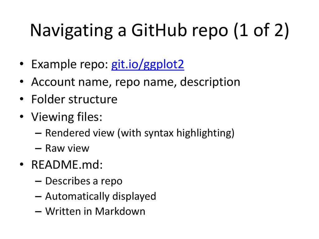 Navigating a GitHub repo (1 of 2) • Example rep...