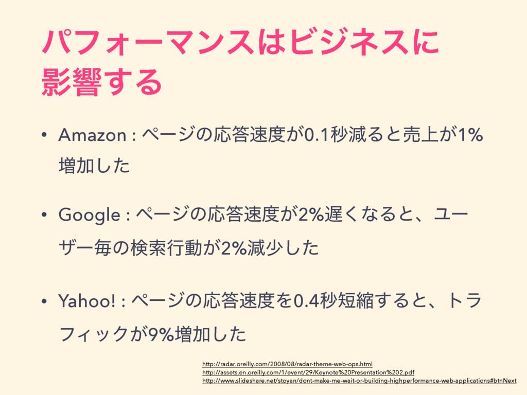 ύϑΥʔϚϯεϏδωεʹ Өڹ͢Δ • Amazon : ϖʔδͷԠ͕0.1ඵݮΔͱച...