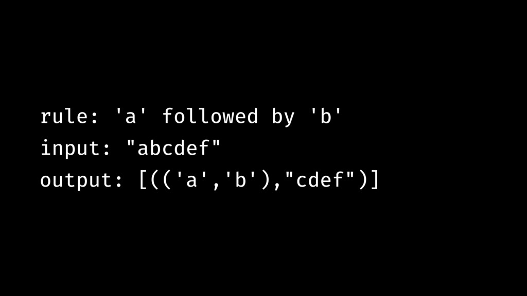 "rule: 'a' followed by 'b' input: ""abcdef"" outpu..."