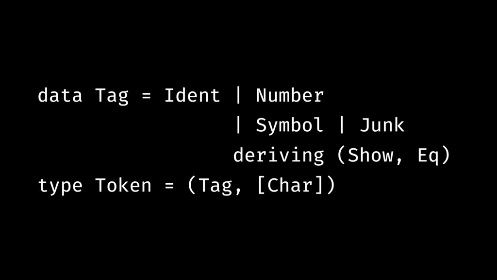data Tag = Ident | Number | Symbol | Junk deriv...