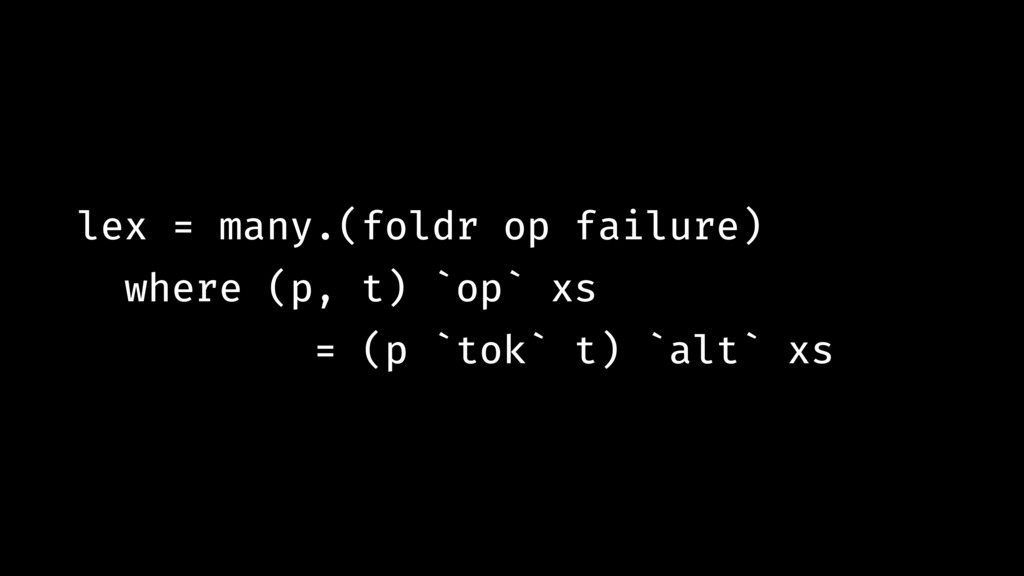lex = many.(foldr op failure) where (p, t) `op`...