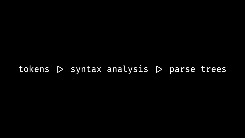 tokens !|> syntax analysis !|> parse trees