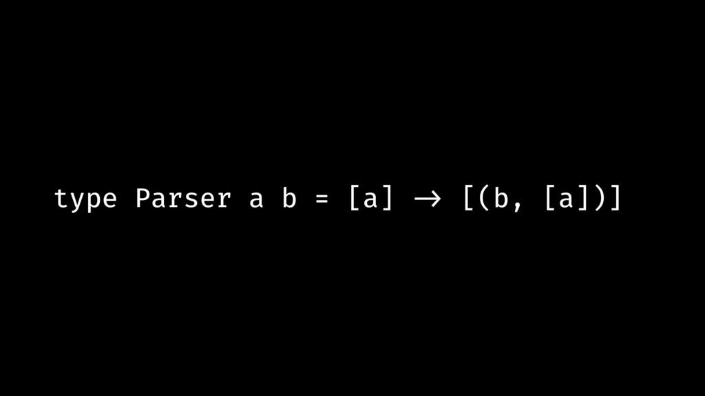type Parser a b = [a] !-> [(b, [a])]