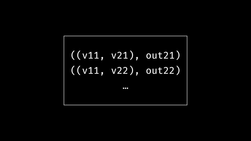 ((v11, v21), out21) ((v11, v22), out22) …
