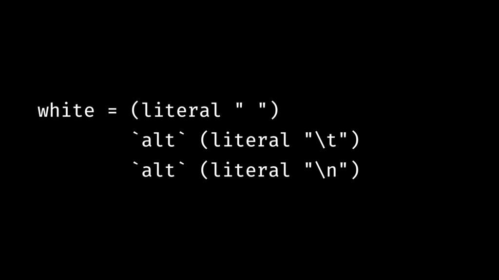 "white = (literal "" "") `alt` (literal ""\t"") `alt..."