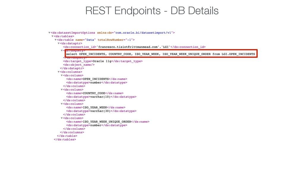 REST Endpoints - DB Details