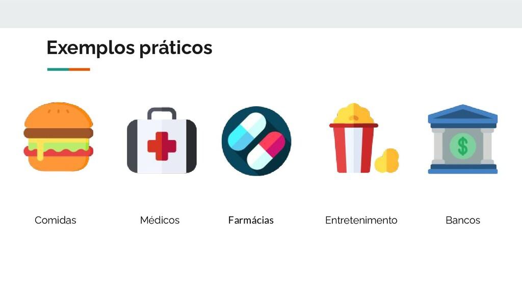 Exemplos práticos Comidas Médicos Entreteniment...