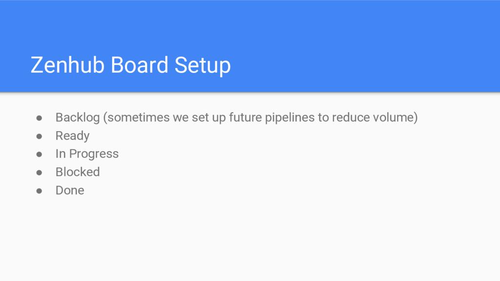 Zenhub Board Setup ● Backlog (sometimes we set ...