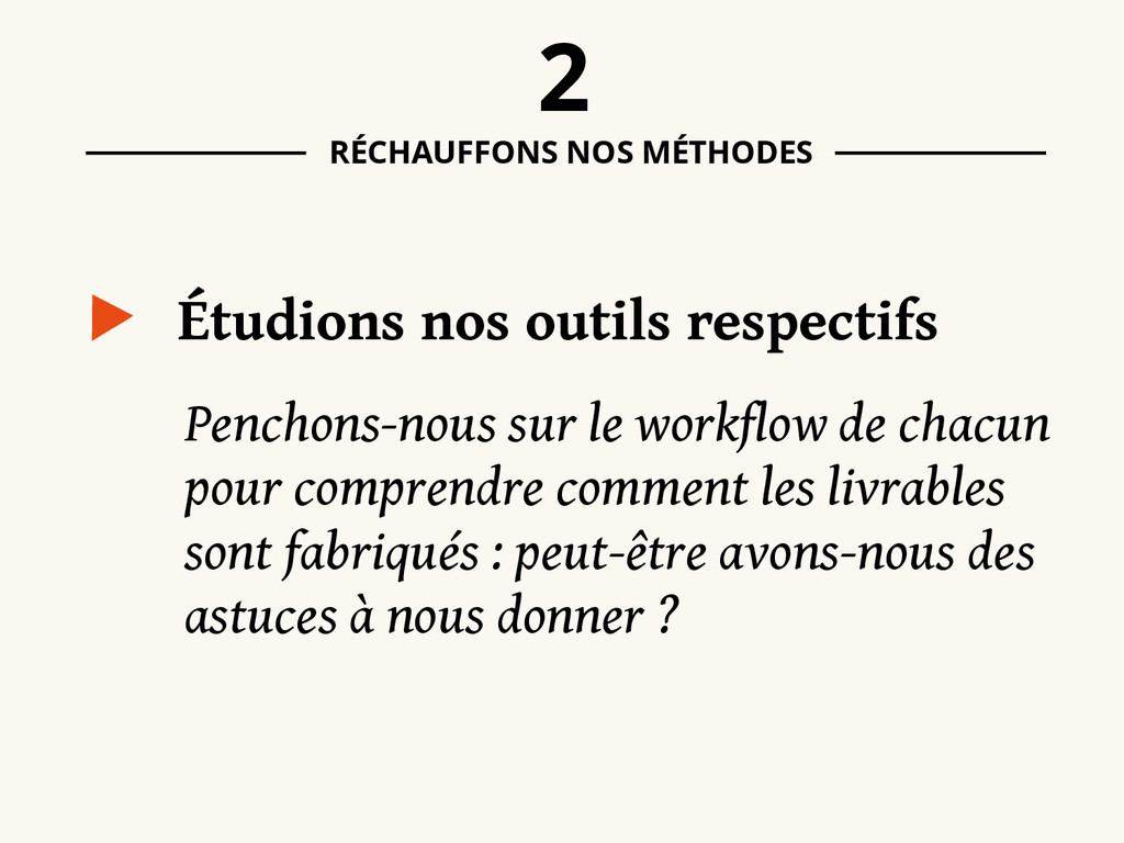 Étudions nos outils respectifs 2 RÉCHAUFFONS NO...