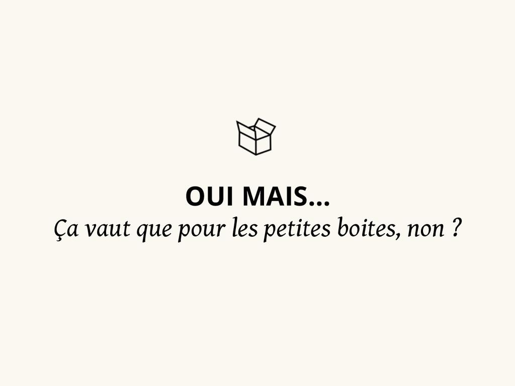 OUI MAIS… Ça vaut que pour les petites boites, ...