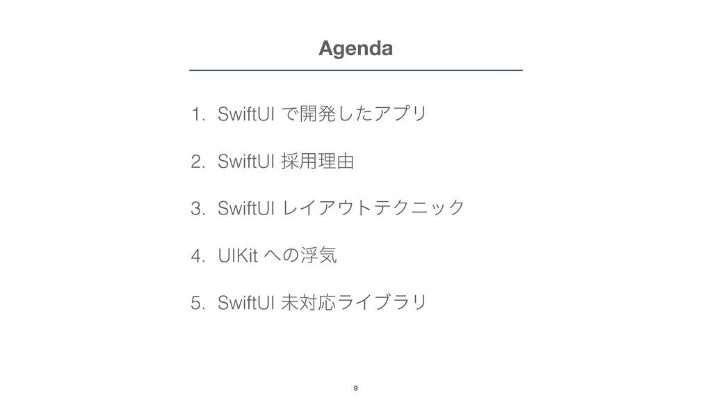 Agenda 1. SwiftUI Ͱ։ൃͨ͠ΞϓϦ   2. SwiftUI ࠾༻ཧ༝   ...