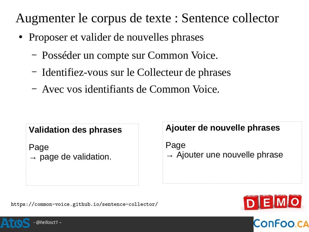 - @hellosct1 – Augmenter le corpus de texte : S...