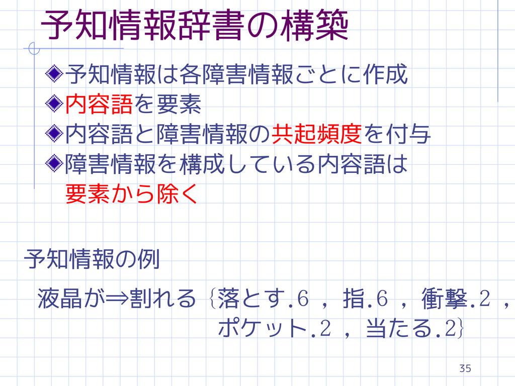 35 予知情報辞書の構築 予知情報は各障害情報ごとに作成 内容語を要素 内容語と障害情報の共起...