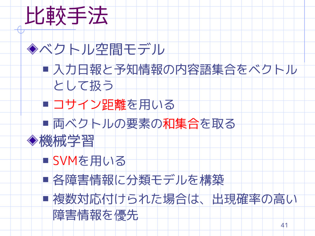 41 比較手法 ベクトル空間モデル s 入力日報と予知情報の内容語集合をベクトル として扱う ...
