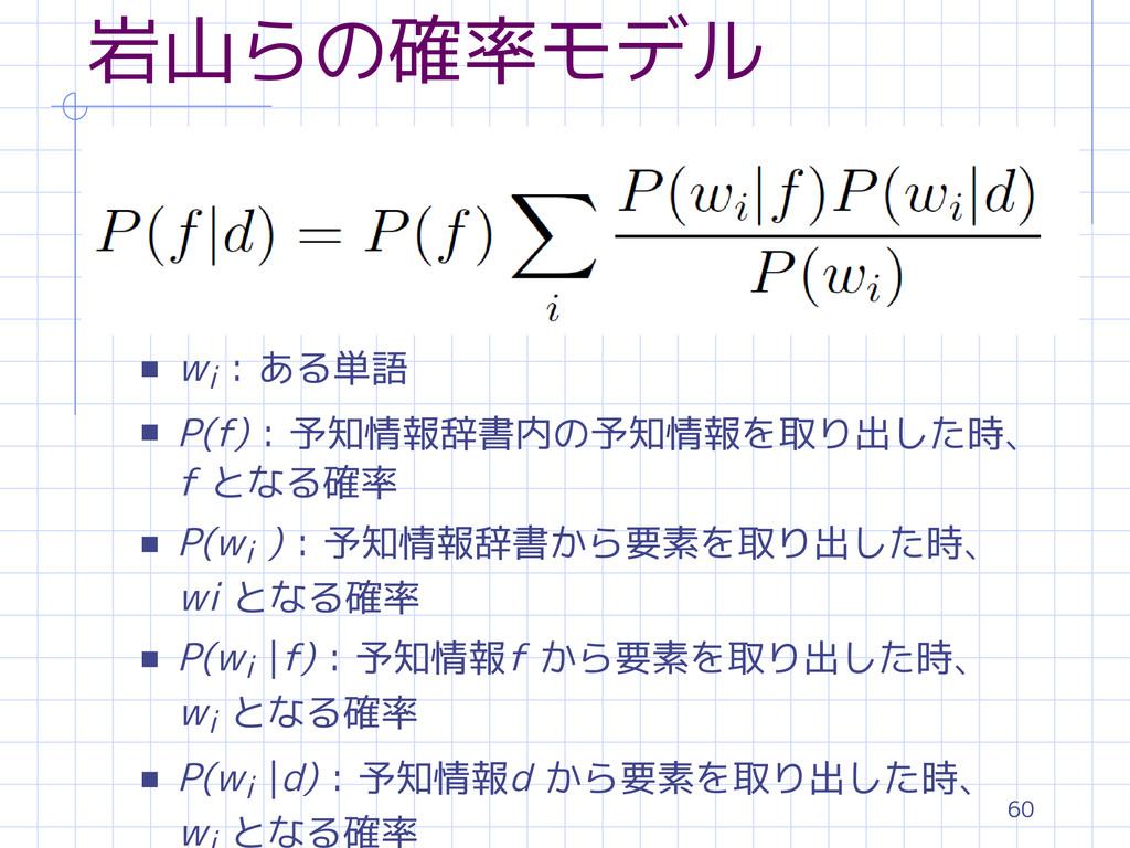 60 岩山らの確率モデル s wi : ある単語 s P(f) : 予知情報辞書内の予知情報を...