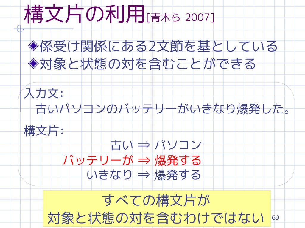 69 構文片の利用[青木ら 2007] 係受け関係にある2文節を基としている 対象と状態の対を...