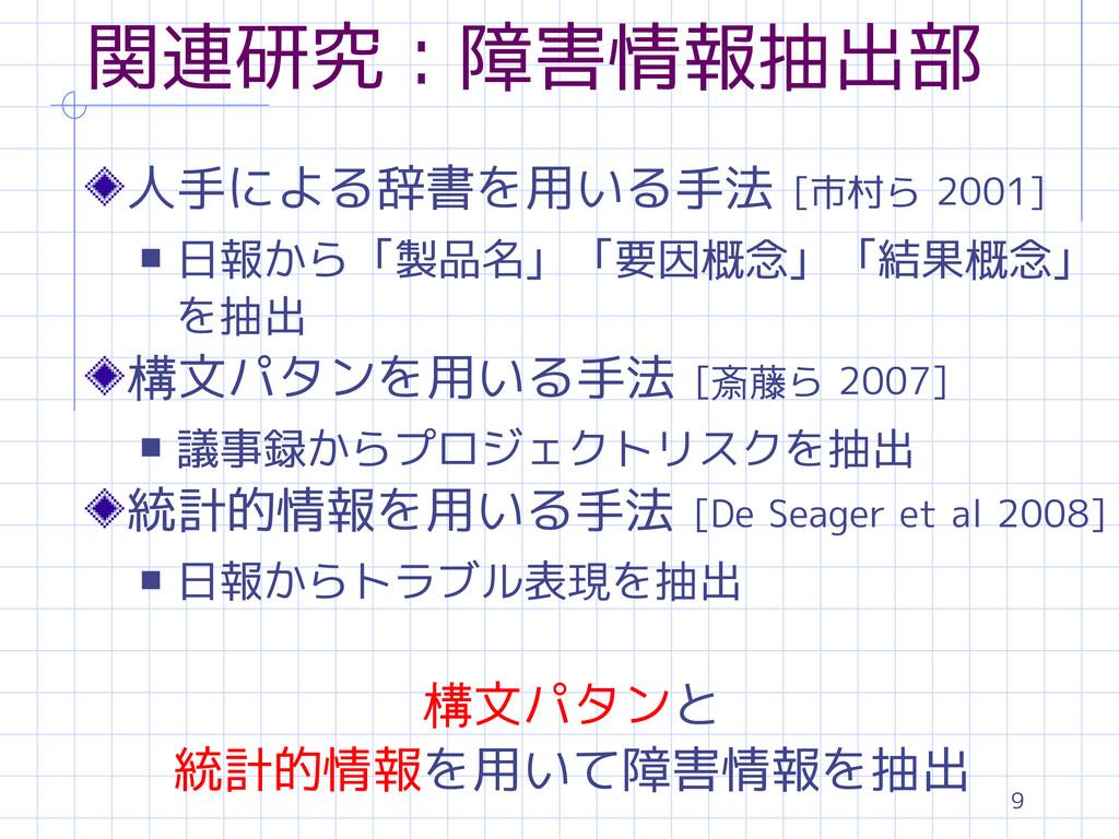 9 関連研究:障害情報抽出部 人手による辞書を用いる手法 [市村ら 2001] s 日報から「...