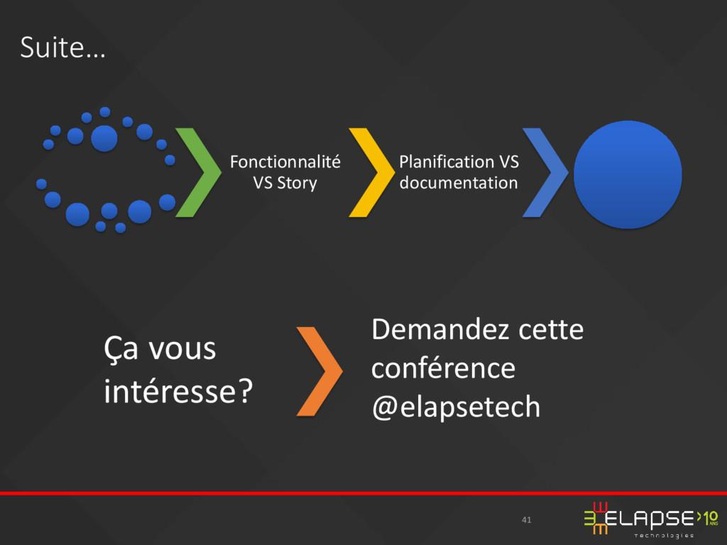 41 Suite… Fonctionnalité VS Story Planification...